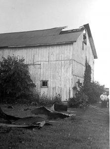 Barn Clipped by crashed Aircraft in NCT July 7 1969.