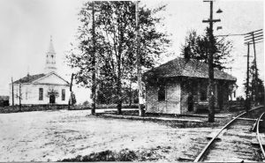 Town Square showing the interurban rail station